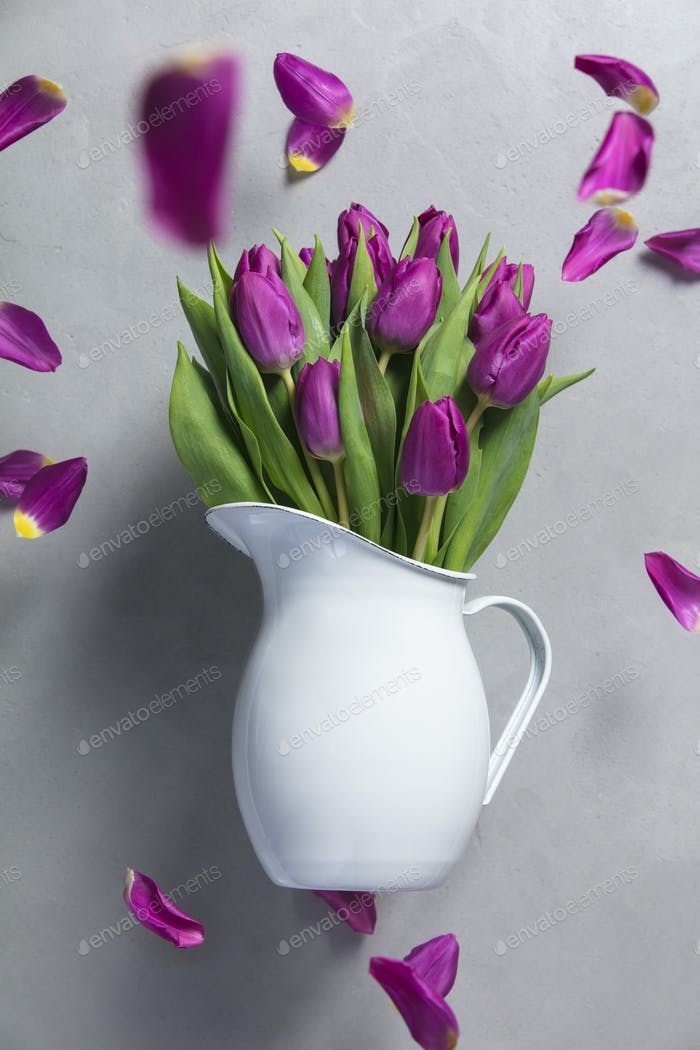 Levitating purple tulips
