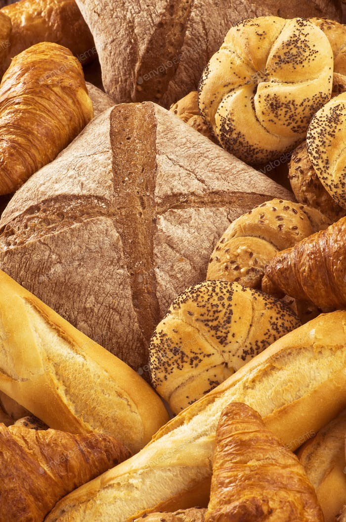 Variety of fresh bread and pastry