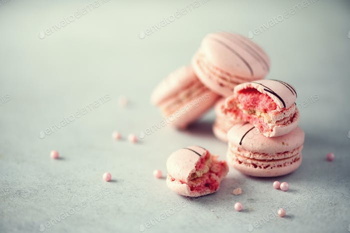 Pink french macaroons. Pastel colors macarons with copy space, top view. Holidays and celebrations