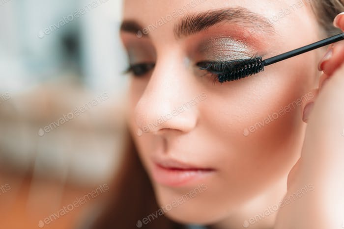Make up artist work with woman eyes
