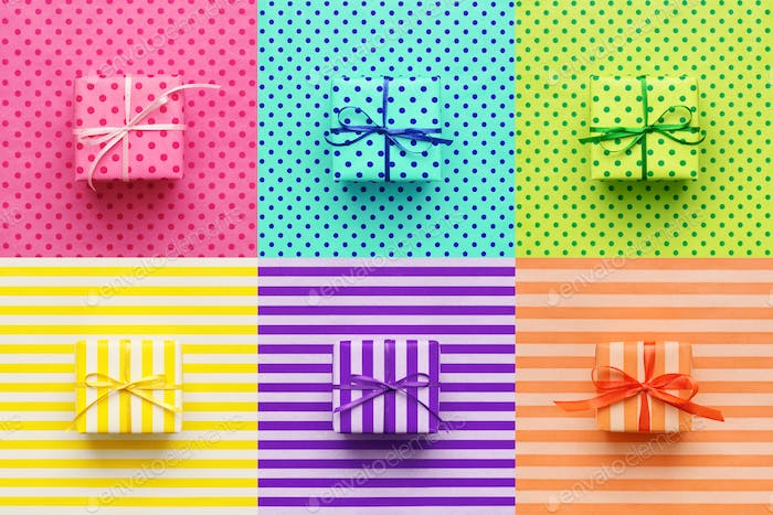 Set of Colorful Gifts on Wrapping Paper in Pop Art Style.