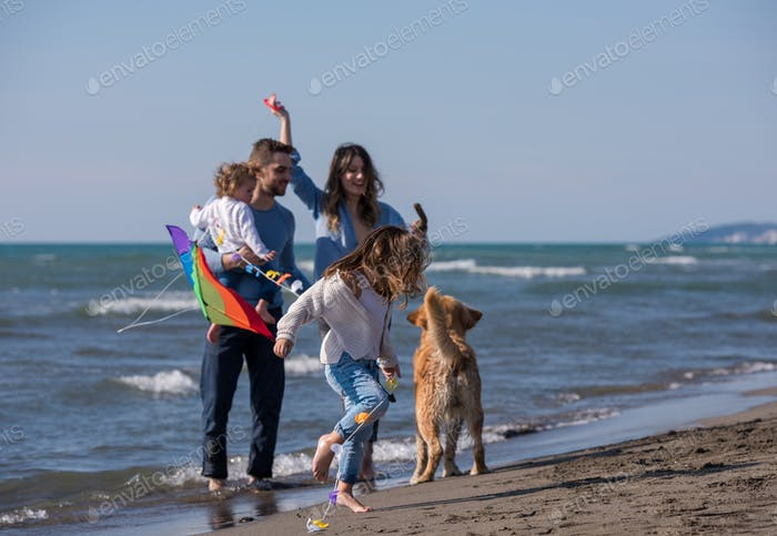 happy young family enjoying vecation during autumn day