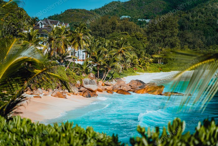 Amazing view of famous Anse Intendance beach, Mahe, Seychelles