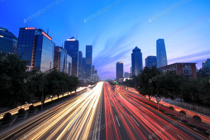 traffic at dusk