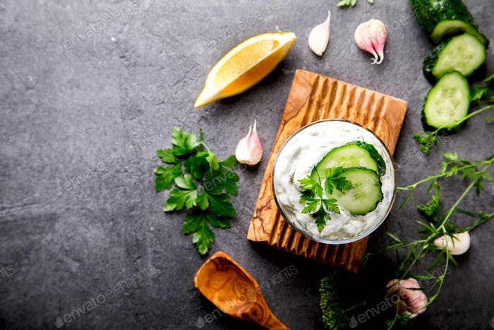 Tzatziki Traditional Greek sauce with ingredients