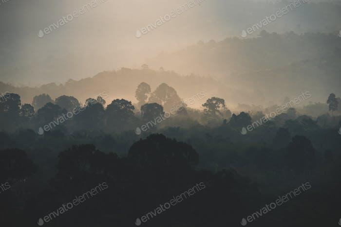 sunset over the mountain, sunset scene