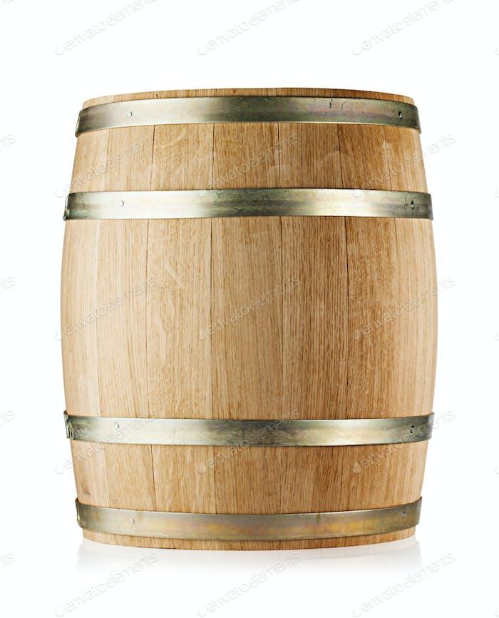 Wooden round oak barrel