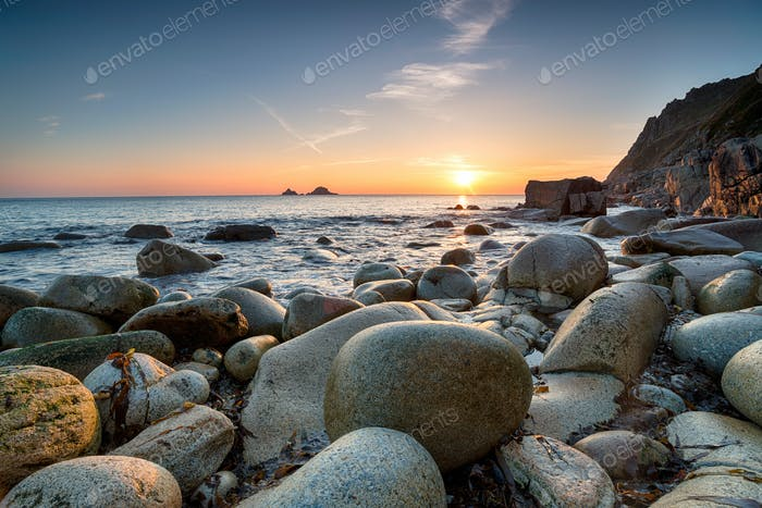Sunset at Porth Nanven in Cornwall