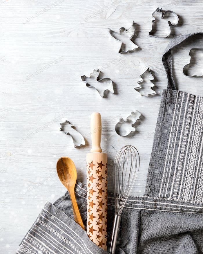 Kitchen apron on Christmas Background Concept