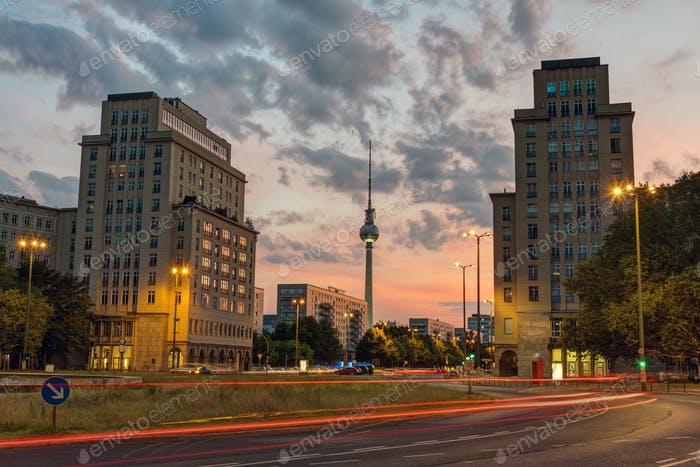 Strausberger Platz in Berlin after sunset
