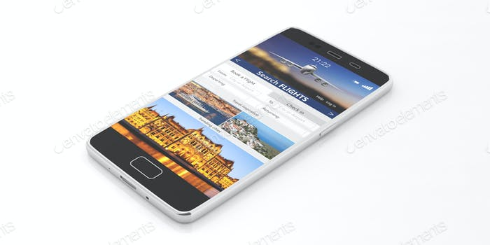 Search flights on a smartphone screen, isolated on white backgound. 3d illustration