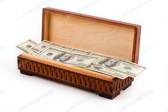 Box full of american dollars