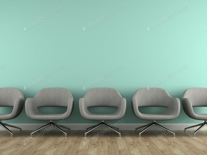 Part of interior with  modern grey armchairs 3d rendering