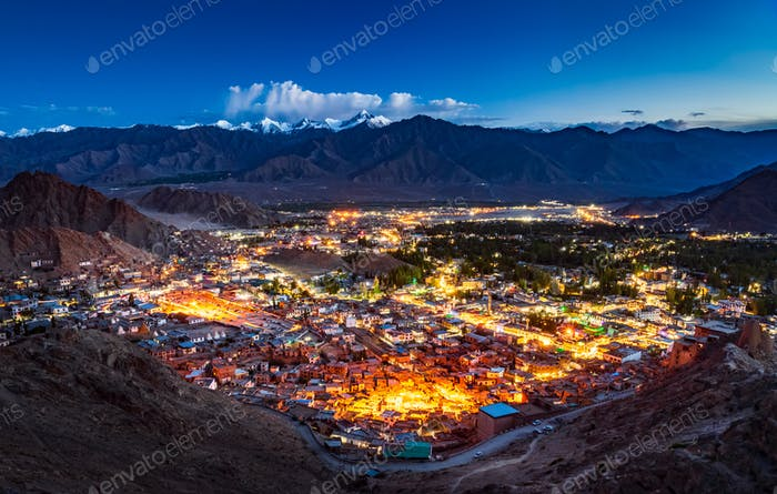 Aerial view of Leh city at night, Ladakh, India