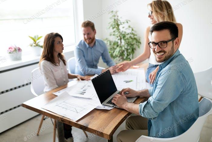 Startup diversity teamwork fun brainstorming meeting business concept