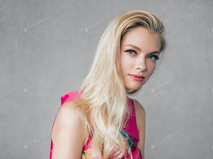 Woman fashion dress blonde hair beauty portrait