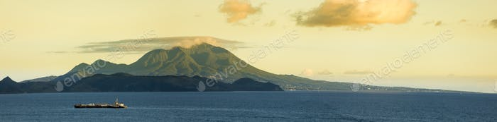 Panoramic view of Nevis Peak on the island of Nevis