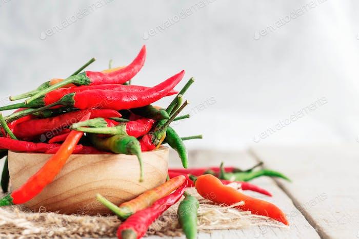 Fresh chilli on wooden