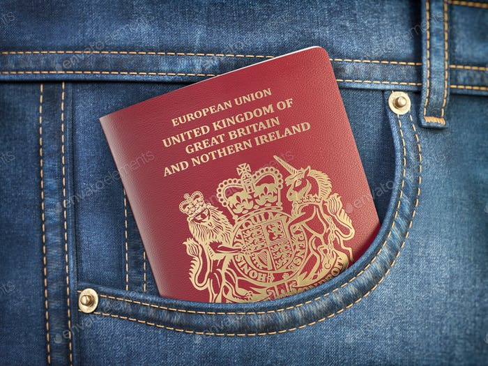 UK United Kingdom passport in pocket jeans