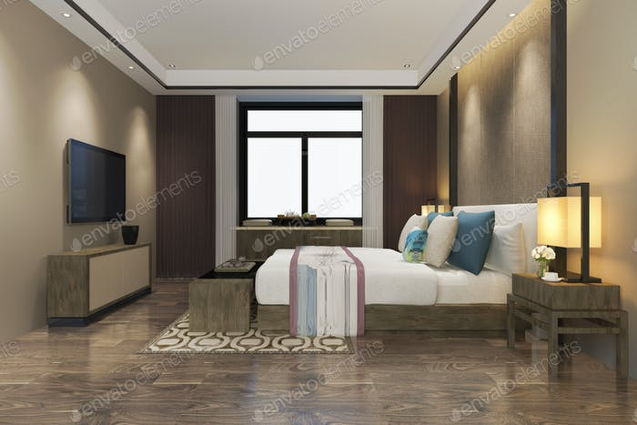 3d rendering beautiful luxury colorful vintage bedroom suite in hotel with tv