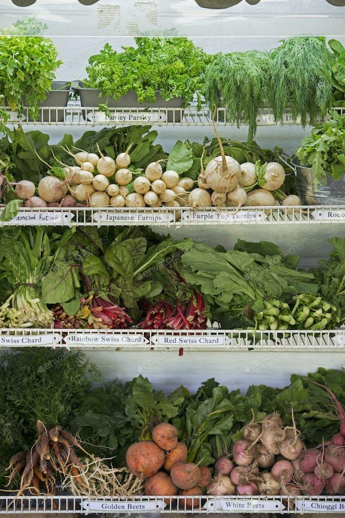 Ein Bauernhof-Stand mit Reihen von frisch gepflücktem Gemüse zum Verkauf.