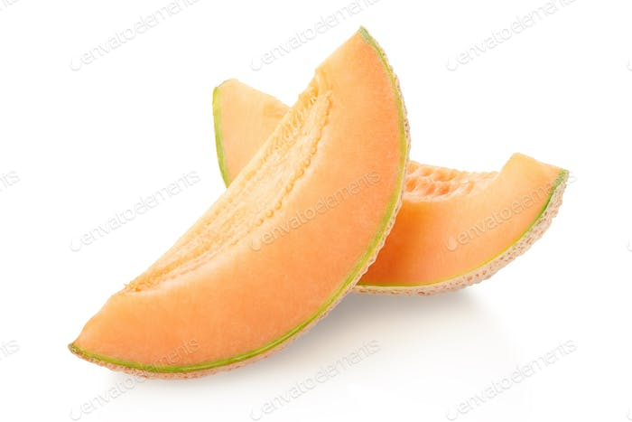 Cantaloupe melon orange slices on white, clipping path