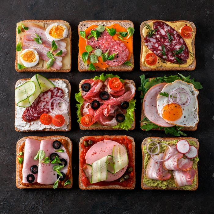 open sandwiches with different meat, copy space