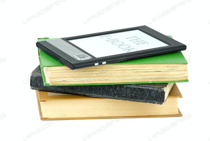 E-book reader and classic paper books