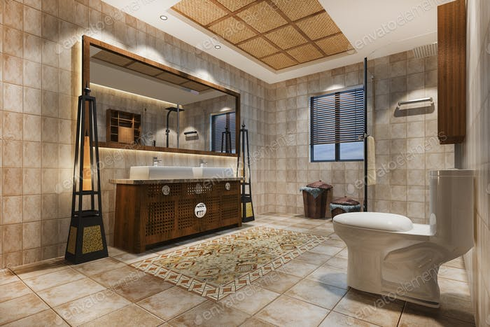 3d rendering vintage bathroom with luxury tropical tile decor