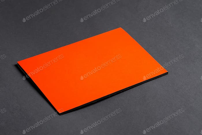 Mockup template paper brochure on a black background