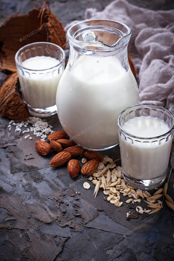 Different types of vegan lactose-free milk