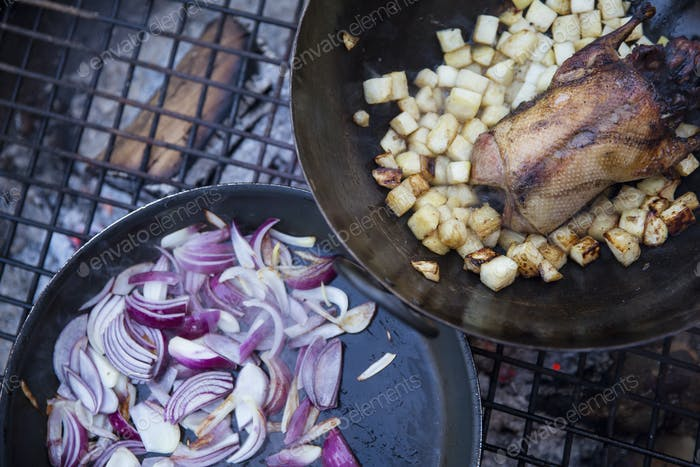 An outdoor cookout, two frying pans with vegetables and a small game bird.