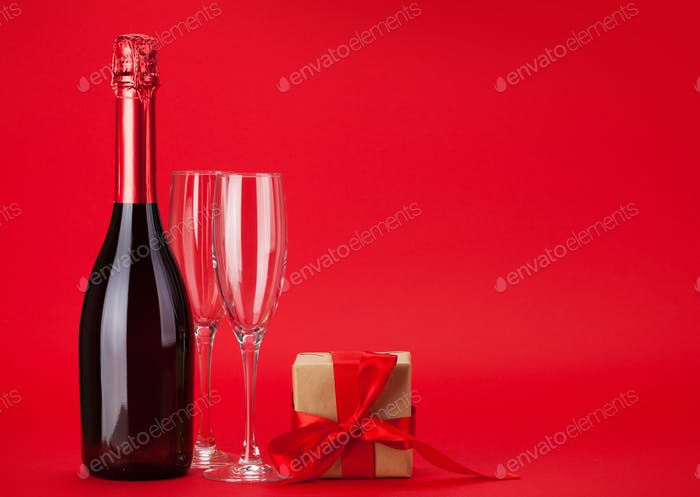 Valentines day gift box and champagne