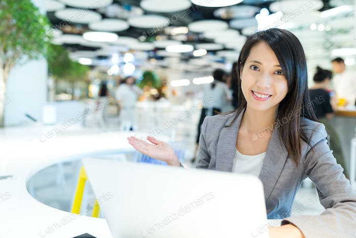 Business woman working in co-working place