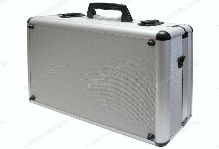 Metal Briefcase with Clipping Path Isolated on a White Background