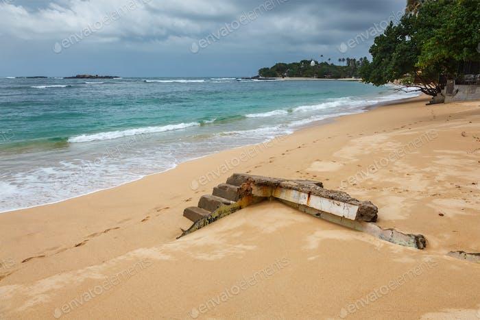 Ruinen eines durch Tsunami zerstörten Hauses, Unuwatuna, Sri Lanka