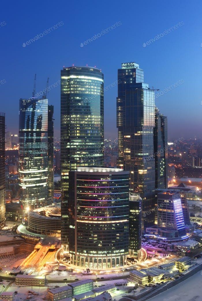 Modern skyscrapers at dawn