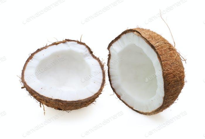Coconut half on white background.