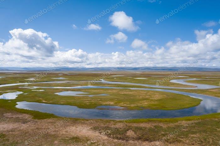Wasserquellen und Hochplateau Feuchtgebiete