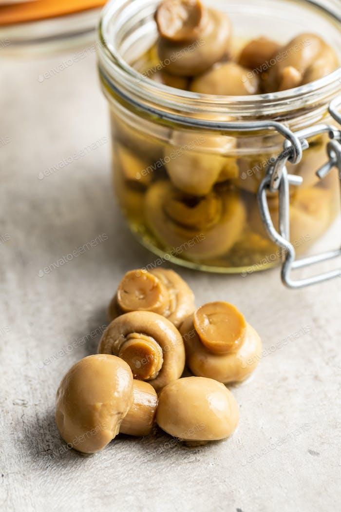 Pickled champignons. Marinated mushrooms