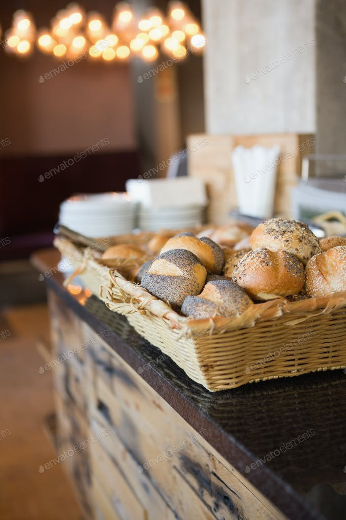Basket with fresh and delicious roll of bread at the bakery