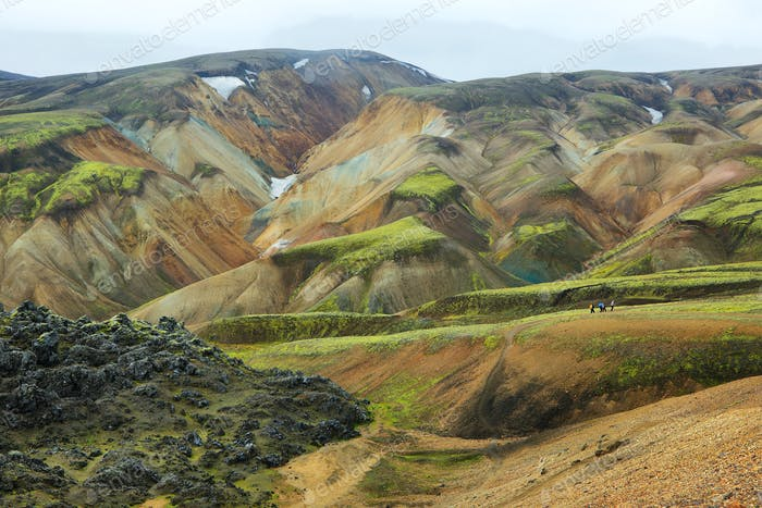 Multicolored mountains at Landmannalaugar,
