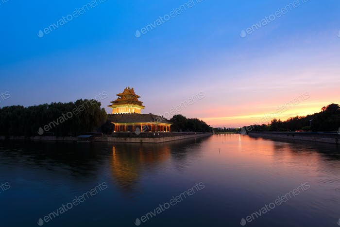 the forbidden city at dusk