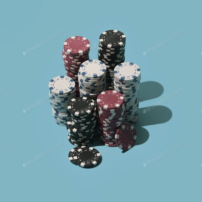 Piles of poker chips
