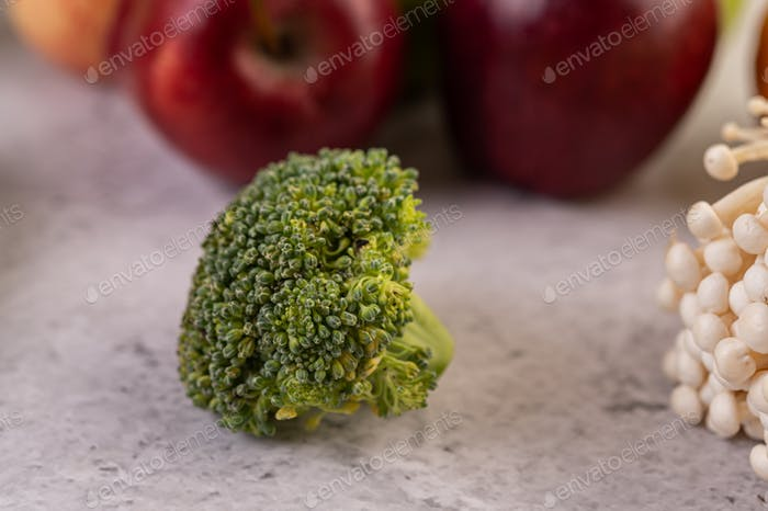 Broccoli with white background. Selective focus.