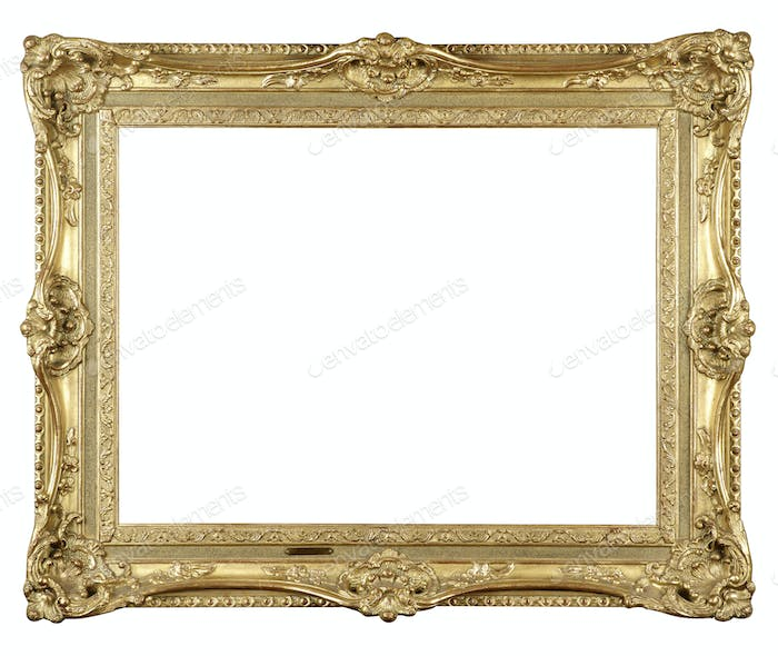 Old antique gold frame on white