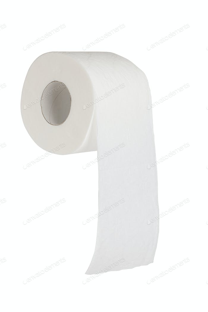 Simple toilet paper on white background