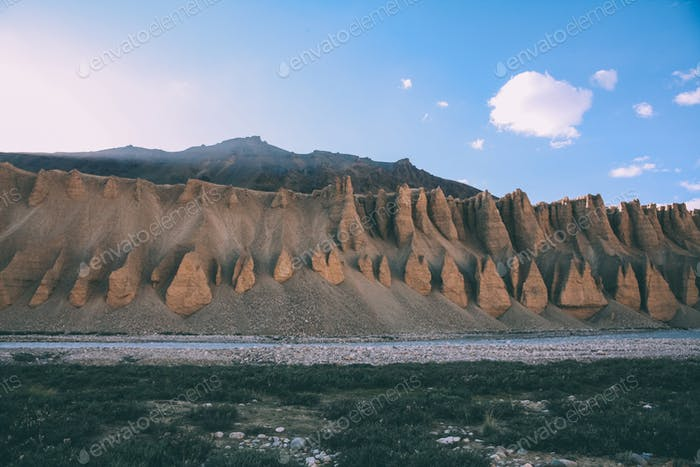 scenic landscape with natural formations and mountain river in Indian Himalayas, Ladakh region