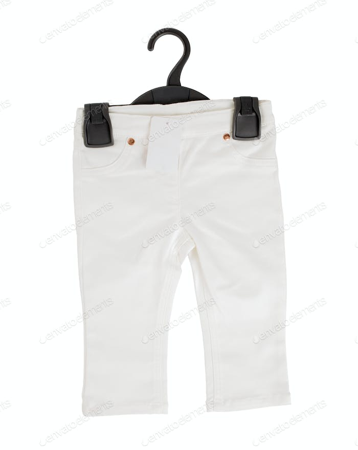 White denim shorts on black plastic hanger.