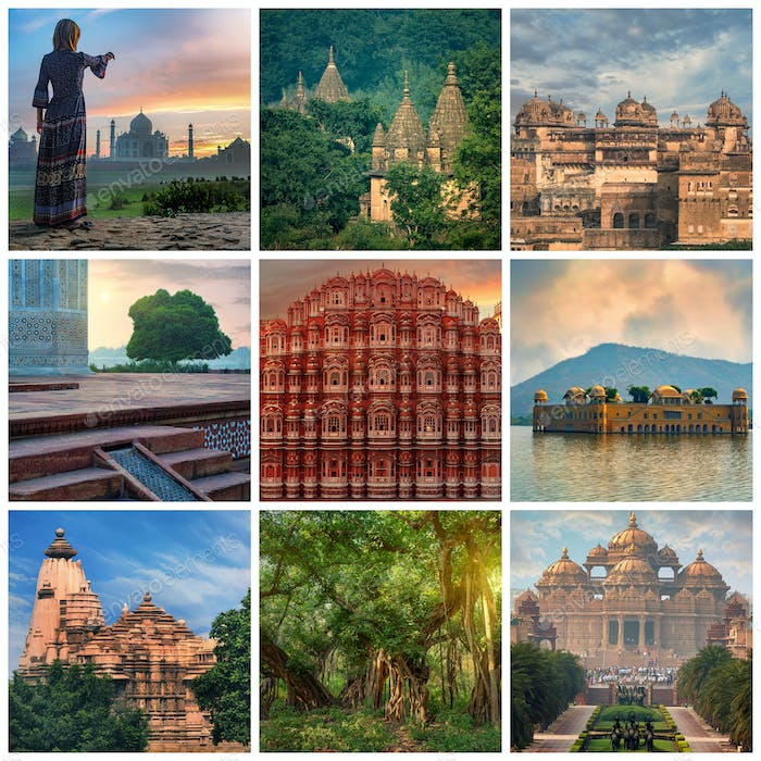 Visit India Travel Concept Collage